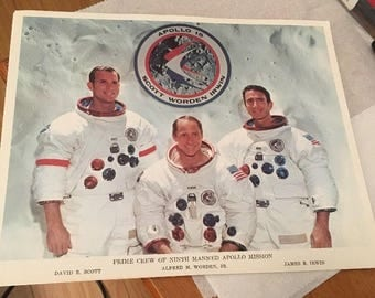 1970s NASA Photo: Prime Crew of the Ninth Manned Apollo Mission ( white background