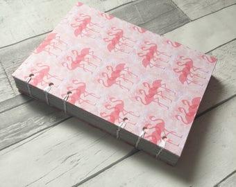 A5 Hand Bound notebook in Watercolour Flamingo Design