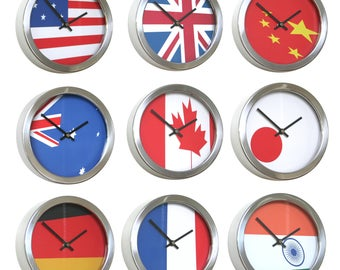 Roco Verre Abstract Flag Cased Wall Clock