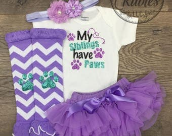 My siblings have paws baby girl outfit Pet lover baby shower gift Glitter Newborn girl onesie Cute dog mom baby gift Sisters Brothers Paws