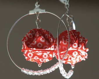 Origami Japanese paper red and white hoop earrings