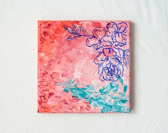 Cran-Raspberry Floral // Original 8x8 Acrylic Painting