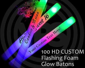 100 Flashing Custom LED Foam Sticks - Customized glow stick for Weddings, Bride, Groom, Sweet 16. LED light sticks