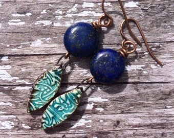 Dainty Blue Earrings, Simple Earrings, Lapis Lazuli Earrings, Turquoise and Blue Jewelry, Gemstone Earrings, Boho Earrings, Dangle Earrings