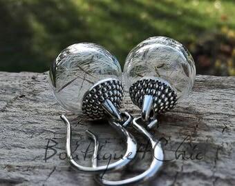 Dandelion earrings, real dandelion, make a wish, gift for her