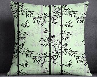 Bamboo Printed Mint Pillow Case, Square Cushion Cover, Decorative Cushion Cover, Standard Cushion Cover, Throw Pillow, SUB-SAS144B