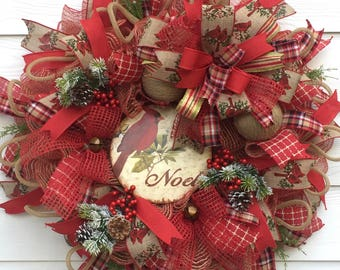 Cardinal Wreath, Christmas Wreath, Wreath for Christmas, Holiday Wreath, Custom Wreath, Best Door Wreath, Rustic Wreath, Front Door Wreath