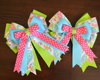 New bright spring colored paisley horse show bows!