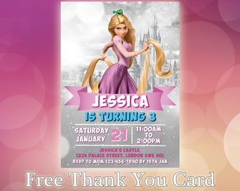 Tangled Invitation / Rapunzel Birthday Invitation / Rapunzel Party Invite / Disney Princess Invitation / Tangled Invitation / TG03
