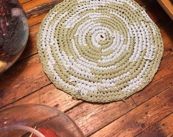 "24"" cotton rag rug hand crocheted"