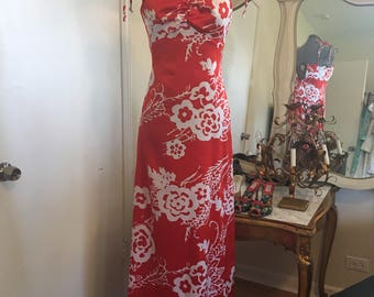 Hawain red Maxi dress