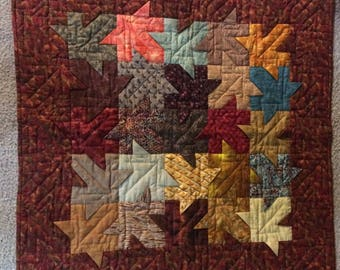 Quilted Fall leaf wall hanging