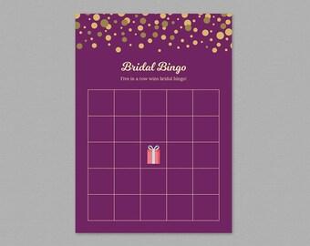 Bridal Bingo Cards Printable, Purple Bridal Shower Games, Wedding Shower Activity, Instant Download, Blank Bingo Cards, DIY, Confetti, A006