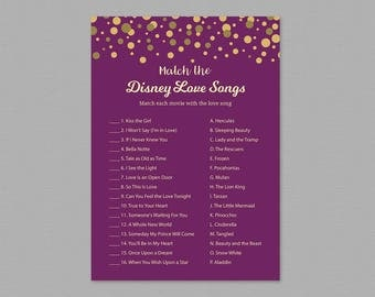 Disney Love Songs Match Game Printable, Match the Disney Love Songs, Purple Gold, Wedding Shower, Bridal Shower, Instant Download, A006