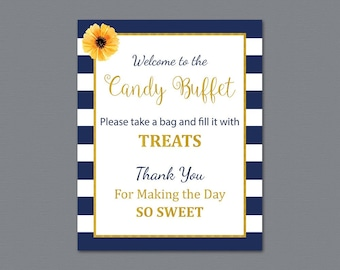 Candy Buffet Sign, Printable Candy Bar Sign, Kate Spade Wedding Table Sign, Grab a Treat Sign, Blue White Stripes, Bridal Shower Decor, A027