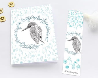 Notebook, Notebook, paper 13 x 18 cm with tassel bookmark: Kingfisher wreath