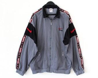 90's Nike Windbreaker Vintage USA Nike Jacket Nike Sweatshirt Hip Hop Nike Track Jacket Gray Red Nike Sport Shirt Nike Tracksuit Large Size
