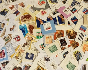 Canadian Cancelled postage stamps, Vintage Stamp Lot, vintage stamps, on paper used stamps, decoupage supplies, collage,  (e532)