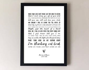 Thinking out loud, song lyrics print, ed sheeran, wedding song,  first dance, anniversary gifts, wedding gift gift for husband gift for wife
