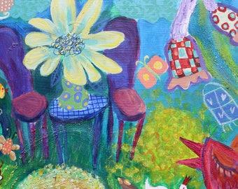 Enchanted Garden, acrylic painting, image, 50 / 50 cm