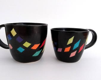 His & Her ceramic mugs, set of two, handmade, unique, contemporary, hand painted, colorful, red, purple, orange, yellow, blue, green, pink