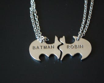 Batman and Robin best friends set of two necklaces