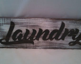 Rustic metal and wood laundry room sign