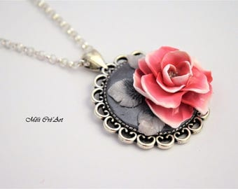 Jewelry polymer clay rose flower silver necklace