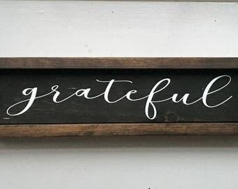 "Grateful Wood Sign   grateful   grateful sign   be thankful   thankful   thanksgiving decor 5"" x 17"""