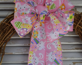 Pink Easter Bunny Bow, Easter Bunny Bow, Bunny and Easter Egg Bow, Easter Bow, Spring Bow, Basket Bow, Wreath Bow, Decorative Bow