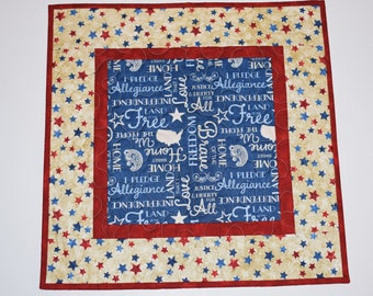 Quilted Patriotic Table Topper, 4th of July Table Mat, Red White & Blue Table Runner, Patriotic Decor, Americana Table Mat, Independence Day