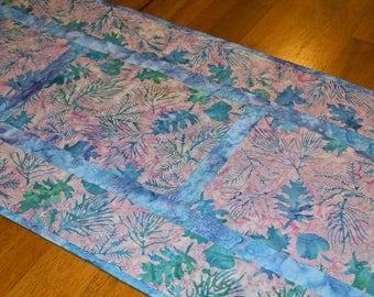 Purple and Blue Batik Table Runner, Batik Table Runner, Quilted Table Runner, Purple Dresser Runner, Purple Runner, Table Runner Quilt