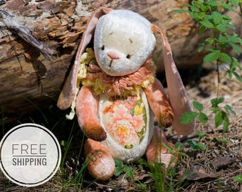 Teddy bunny rabbit Pink bunny rabbit Artist teddy bunny Teddy Plush bunny rabbit Teddy bunny Bunny flowers Gift for woman Collectible bunny