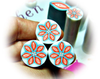 Polymer clay flower cane: Raw polymer clay cane - Millefiori cane supplies - Turquoise and orange flower cane - Supplies for jewelers
