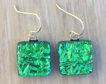 Dichroic Fused Glass Earrings Bright Green Crinkle with Solid Sterling Silver Ear Wires