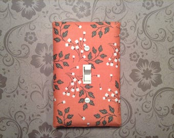 Dandelion Switchplate - Light Switch Plate - Fabric Light Switchplate - Light Cover - Coral Gray White - Home Decor - Wall Decor - Wall Art