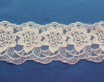 "Cream/Off White Embroidered Trim - 3.25"" wide -  BRIDAL CHRISTENING, Veil"