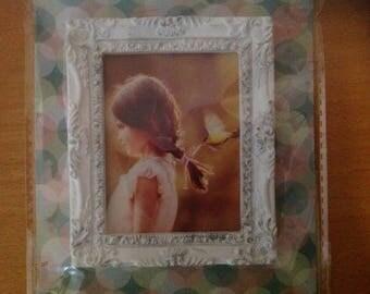 Mini white baroque picture frame