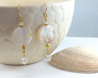 Crystal Mother of Pearl Shell Drop Earring with Yellow Gold Accents 18kt gold plated wires