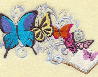 Book and Butterflies (7 x 4) Iron-on Patch // Iron on Patch // Embroidered Patch // MADE TO ORDER