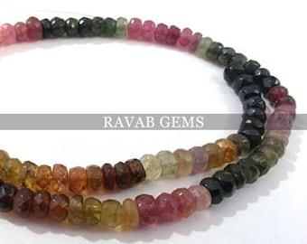 100% Genuine Multi Tourmaline Faceted Beads AAA Quality Natural Tourmaline Faceted Rondelle Beads 5.5 to 6mm Tourmaline beads 1 Strand