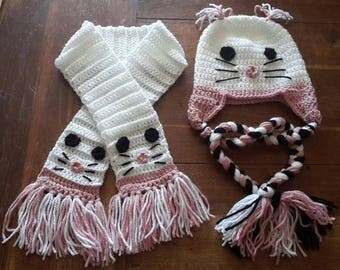 set Hat scarf baby cat pattern