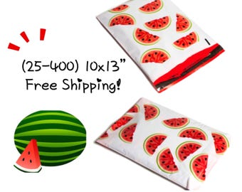 "FREE SHIPPING! (25-400 Pack) 10x13"" Watermelon Designer Poly Mailers"