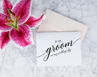 Personalized Wedding To My Groom On Our Wedding Day Bridesmaid Maid of Honor Brother Sister Wedding Cards Note Card Pink Green Blue White