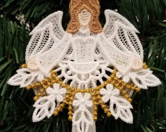 Free standing lace angel Christmas ornament, Christmas card insert, machine embroidered