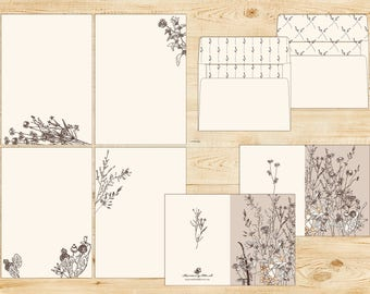 Wild Herb Printable Stationery Set with envelopes INSTANT DOWNLOAD