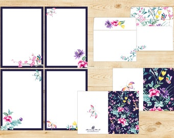 Chinoiserie Printable Stationery Set INSTANT DOWNLOAD