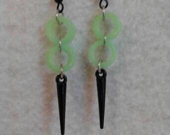 Green Black Spike Earrings- GLOW