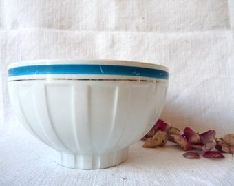 White French Vintage Cafe au Lait Bowl Blue and Silver Stripes, Fluted French Bowl, Vintage Ceramic Faceted Breakfast Bowl, Shabby Chic