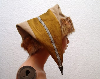 CAP, Middle Ages, Viking, Rus, Brettchenborte, fur fox Genuine, Gr. 60, wool, plant dyed, silk, plant dyed, linen, Birka
